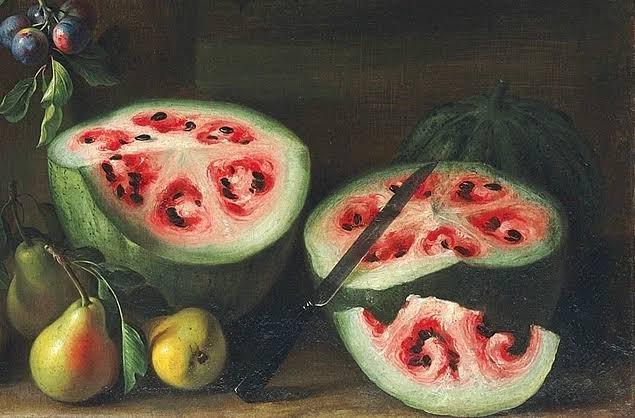 (1650'li yıllarda yapıldığı kayıtlara geçen Giovanni Stanchi'e ait şu tabloda yer alan karpuzlara da bir bakın. Günümüz tatlı, sulu, kırmızı karpuzları ile karşılaştırılabilir mi hiç?)